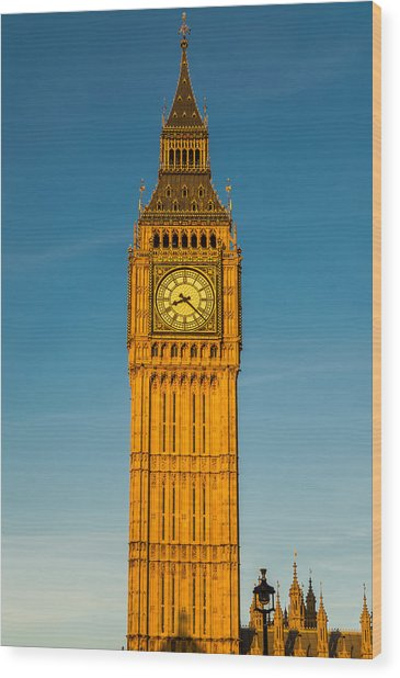 Big Ben Tower Golden Hour London Wood Print
