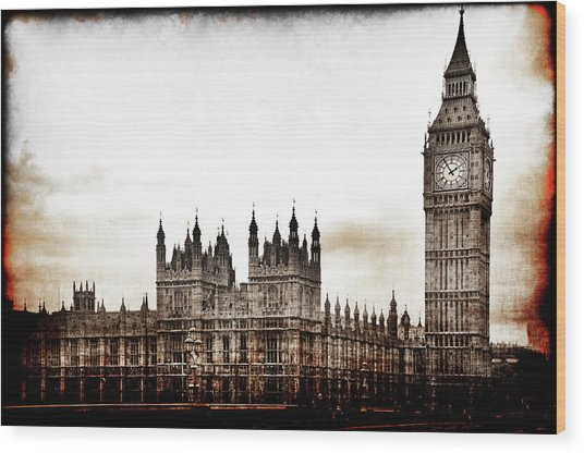 Big Bend And The Palace Of Westminster Wood Print