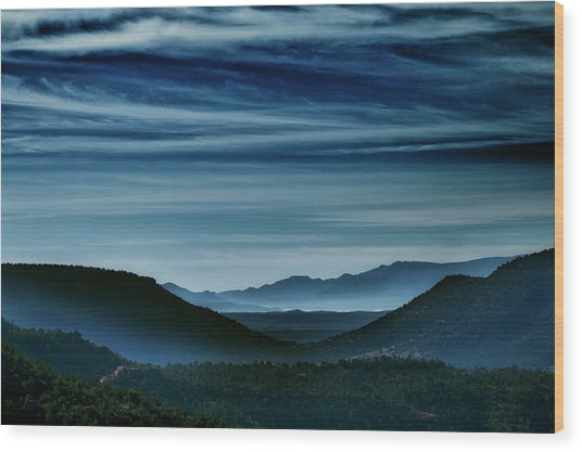 Big Bend At Dusk Wood Print