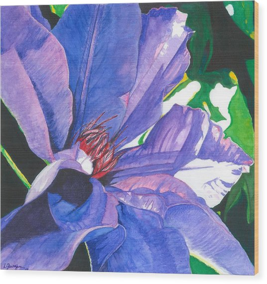 Big Blue Clematis Wood Print by Leslie Gustafson