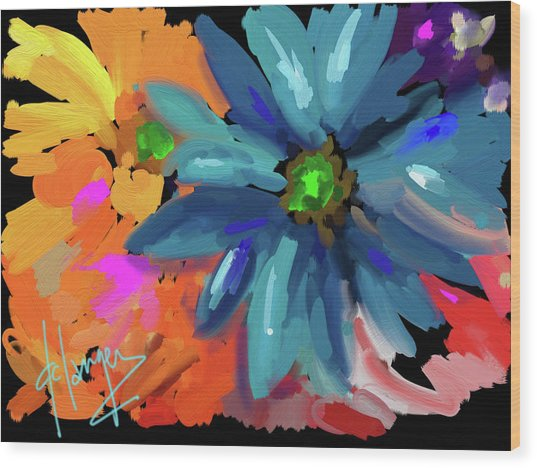 Big Blue Flower Wood Print