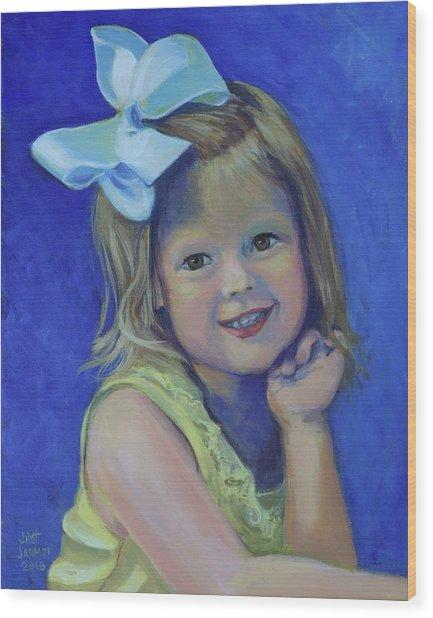 Big Bow Little Girl Wood Print