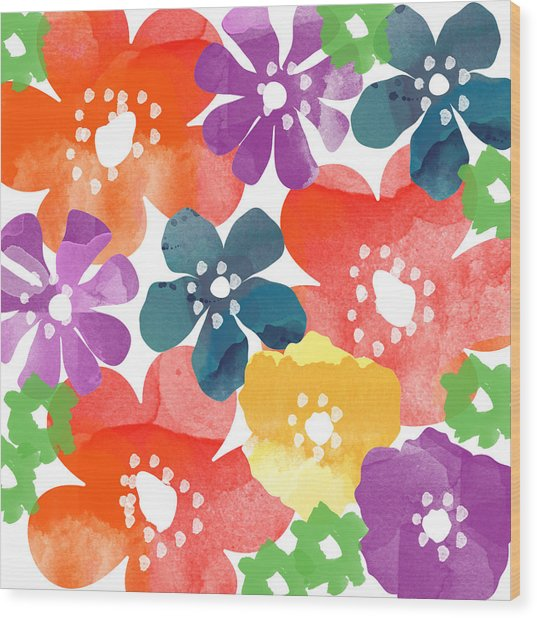 Big Bright Flowers Wood Print