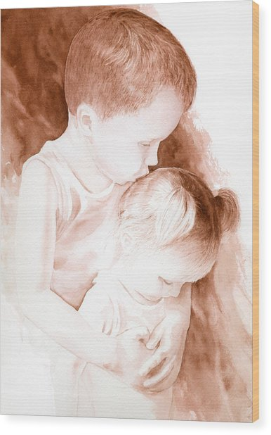 Big Brothers Hug Wood Print
