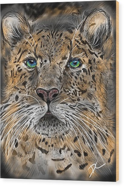 Wood Print featuring the digital art Big Cat by Darren Cannell
