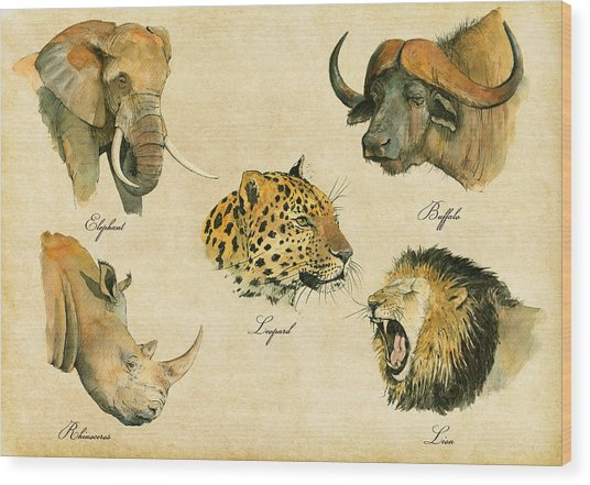 Big Five Poster Wood Print