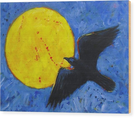 Big Full Moon And Raven Wood Print