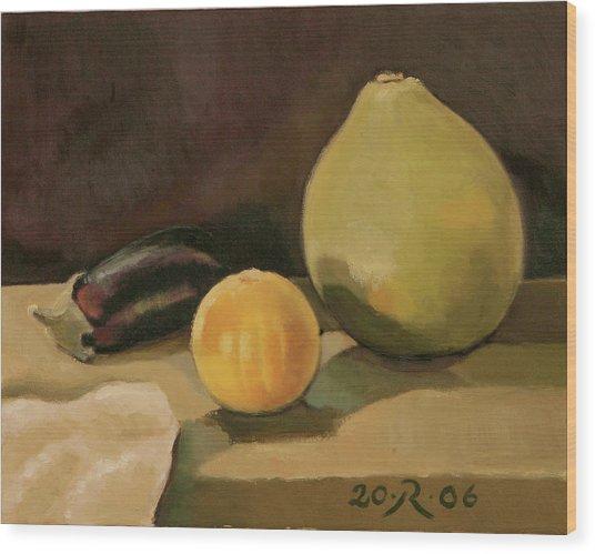 Big Grapefruit Wood Print by Raimonda Jatkeviciute-Kasparaviciene