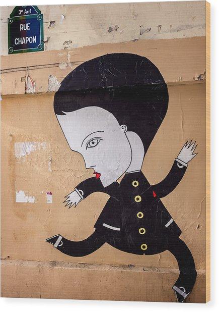 Big Head On Rue Chapon Wood Print