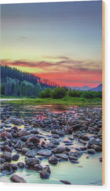 Big Hole River Sunset Wood Print