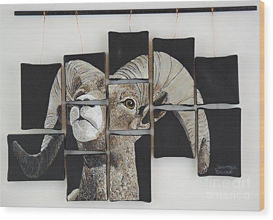 Big Horn Fragments Wood Print by Taunya Bruns
