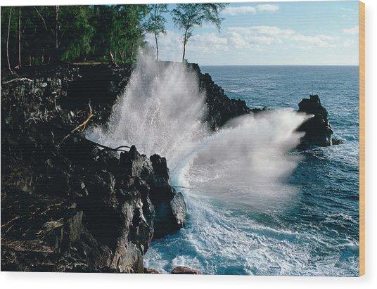 Big Island Waves Wood Print by Gary Cloud