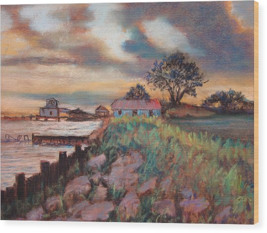 Big Lake Sunset Wood Print by Anne Dentler