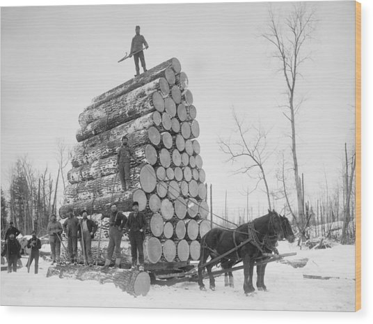 Big Load Of Logs On A Horse Drawn Sled Wood Print