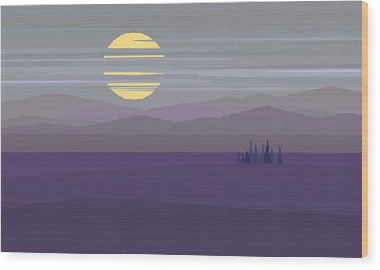 Big Moon At Twilight Wood Print by Val Arie