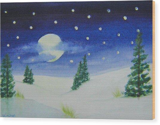 Big Moon Christmas Wood Print