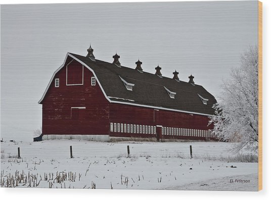 Big Red Barn In The Winter Wood Print