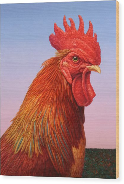 Big Red Rooster Wood Print