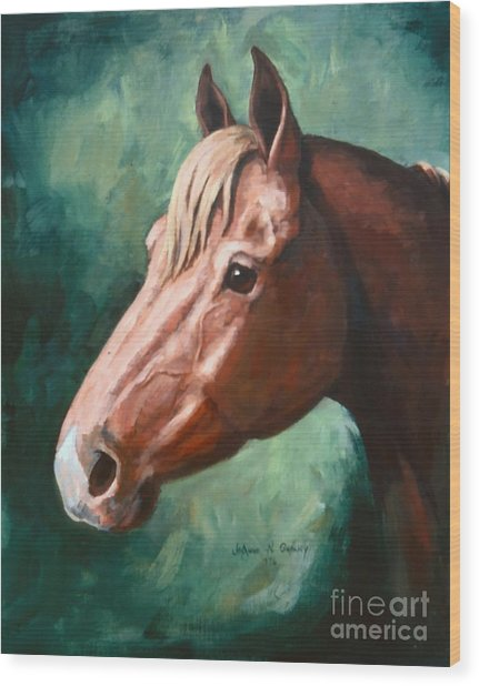 Big Red Snip    Horse Painting Wood Print by JoAnne Corpany