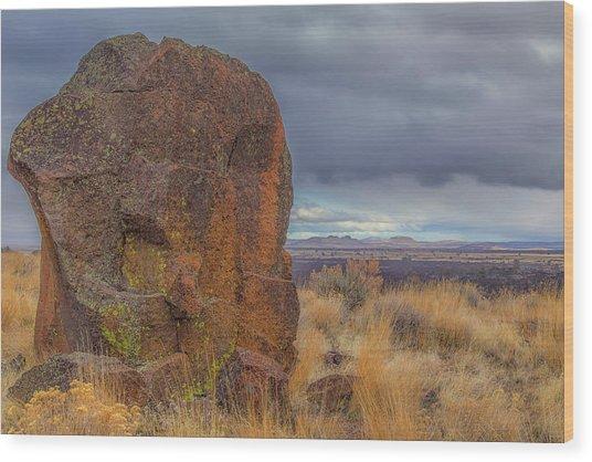 Big Rock At Lava Beds Wood Print