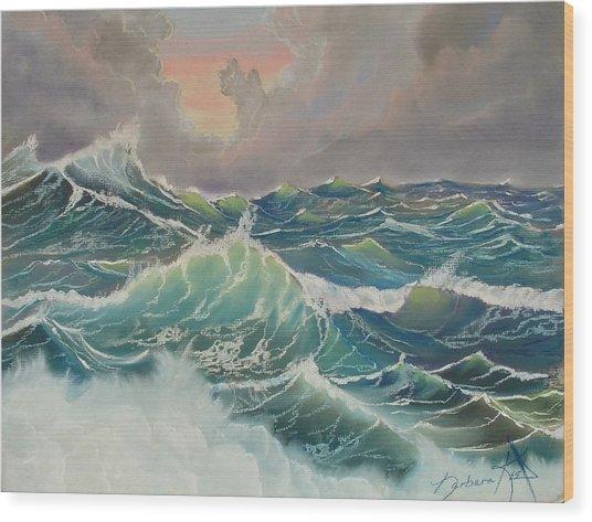 Big Seas Wood Print by Barbara Keel