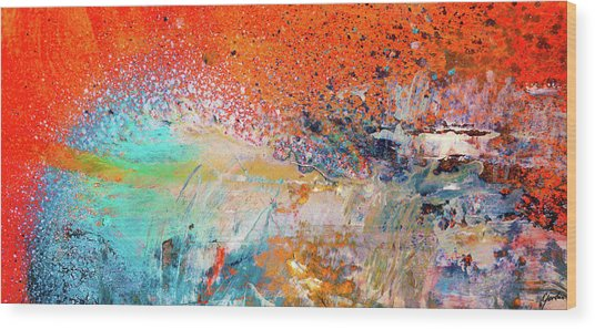 Big Shot - Orange And Blue Colorful Happy Abstract Art Painting Wood Print