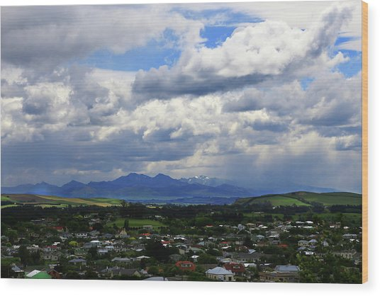 Big Sky Over Oamaru Town Wood Print