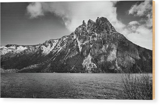 Big Snowy Mountain In Black And White Wood Print