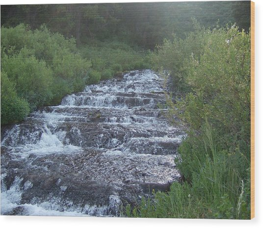 Big Springs Waterfall Wood Print by Susan Pedrini