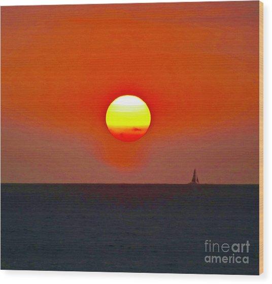 Big Sun Wood Print