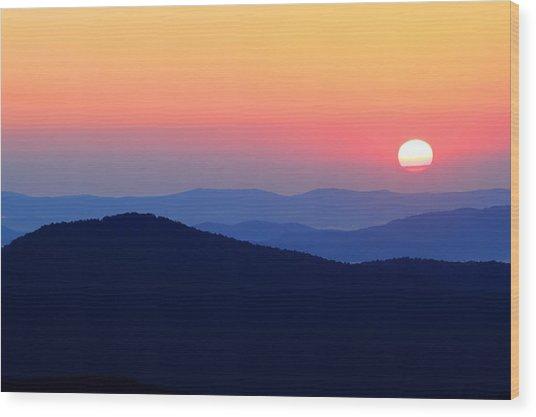 Big Sunrise Off Blue Ridge Parkway Wood Print