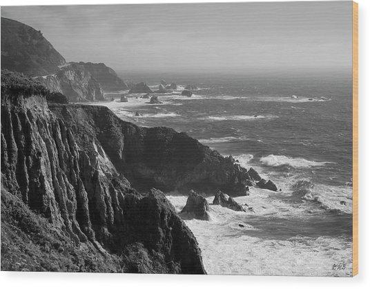 Big Sur Coast Bw  Wood Print