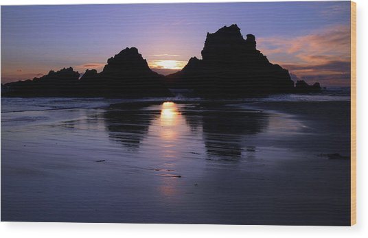 Big Sur Sunset Wood Print by Pierre Leclerc Photography