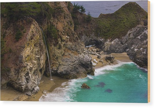 Big Sur Waterfall Wood Print