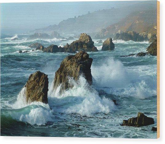 Big Sur Winter Wave Action Wood Print