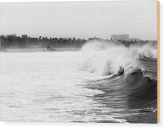 Big Surf At Santa Monica Wood Print by John Rizzuto