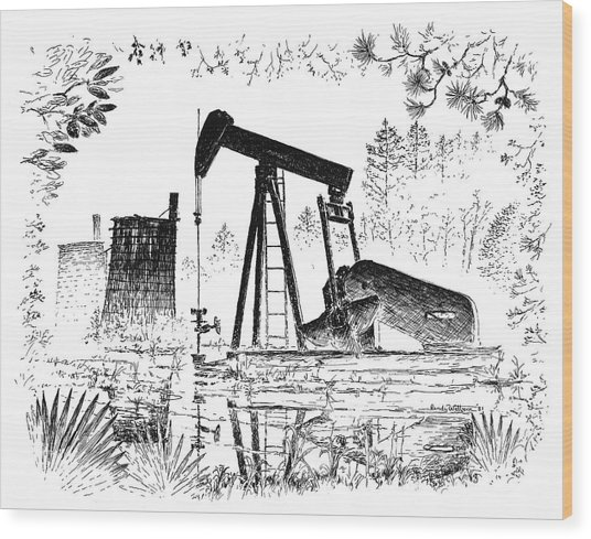 Big Thicket Oilfield Wood Print