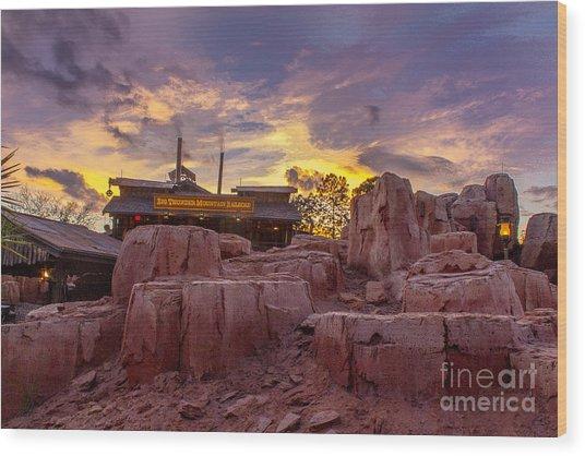 Big Thunder Mountain Sunset Wood Print