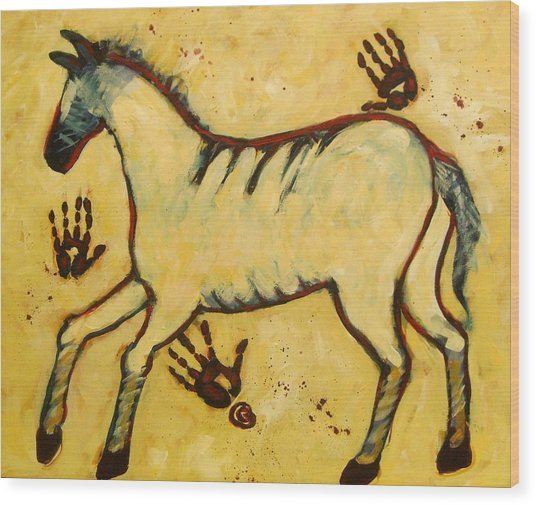 Big Yellow Lascaux Horse Wood Print
