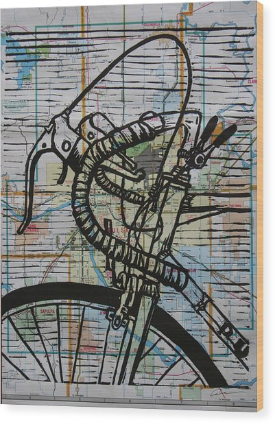 Bike 2 On Map Wood Print