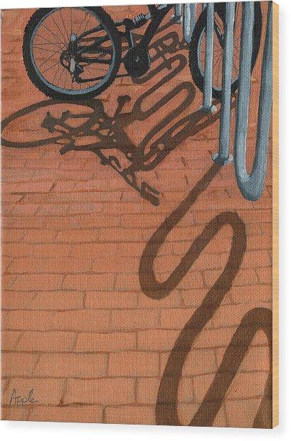 Bike And Bricks No.2 Wood Print by Linda Apple