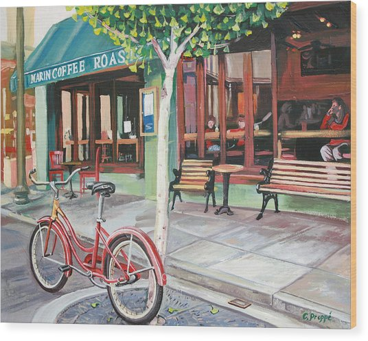Bike At The Coffee Shop Wood Print by Colleen Proppe