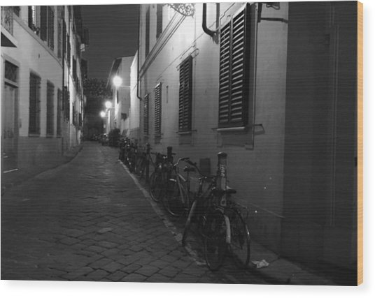 Bike Lined Alley Wood Print