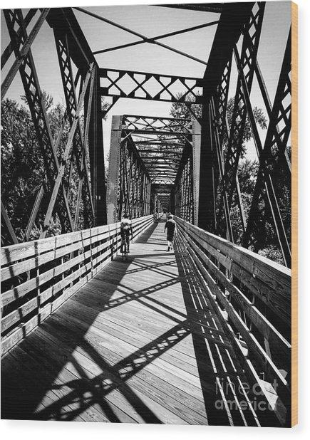 Bike Path Bridge Wood Print by JMerrickMedia
