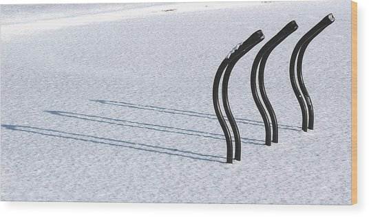 Bike Racks In Snow Wood Print
