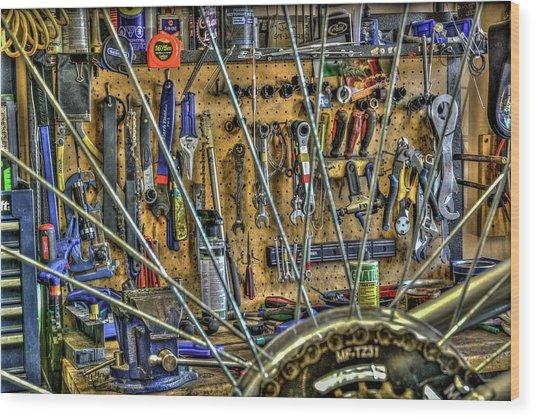 Bike Repair Shop Wood Print