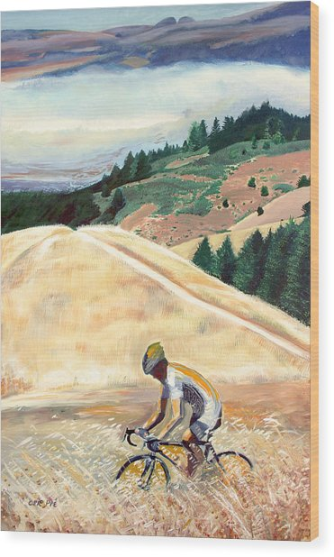 Bike Ride Above Bolinas Fog Wood Print by Colleen Proppe