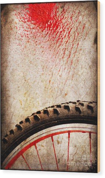 Bike Wheel Red Spray Wood Print