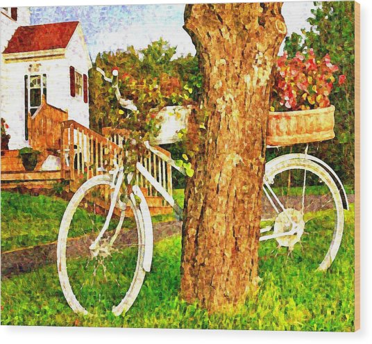 Bike With Flowers Wood Print