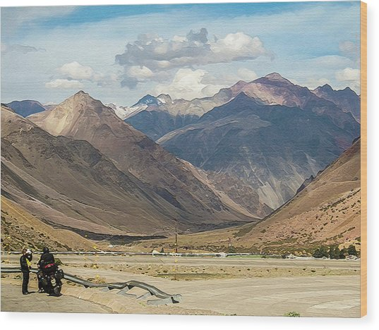 Bikers And The Andes Mountains Wood Print